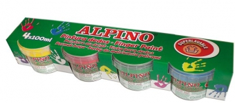 Tempera lavabila, pentru pictura cu mana, 4 culori x 100ml/set, ALPINO Finger Paint