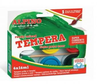 Tempera lavabila, 6 culori x 16ml/cutie + pensula gratis, Alpino