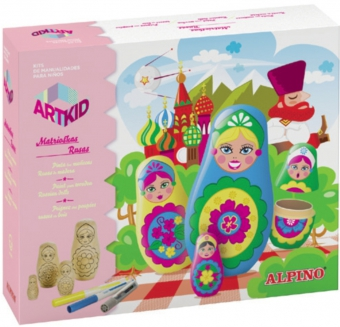 Cutie cu articole creative pentru copii, ALPINO ArtKid Matrioskas Rusas