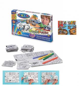 Puzzle de colorat, 36 piese + 24 carioca lavabile, CARIOCA Pirate