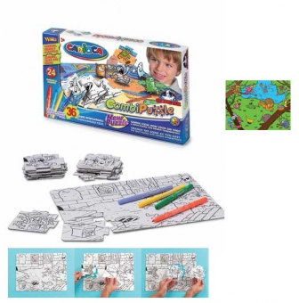 Puzzle de colorat, 36 piese + 24 carioca lavabile, CARIOCA Jungle