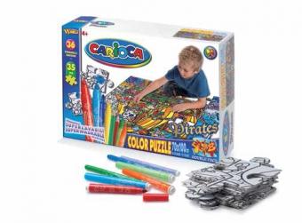 Maxi-Puzzle de colorat, 35 piese + 36 carioca lavabile, CARIOCA Adventures
