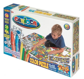 Maxi-Puzzle de colorat, 35 piese + 36 carioca lavabile, CARIOCA Empire