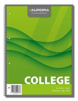 Caiet cu spirala, A4, 80 file - 70g/mp, 4 perforatii, coperti carton, AURORA College - dictando