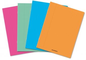 Caiet A5, 36 file - 80g/mp, liniat stanga, coperta PP transparent color, AURORA - matematica