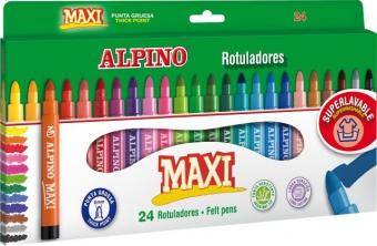 Carioca lavabila, 24 culori/cutie, ALPINO Maxi