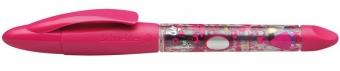 Roller cu cartus SCHNEIDER Base Ball, rubber grip, corp roz, cu decor - scriere albastra