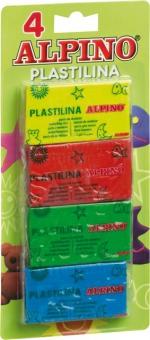 Plastilina standard, 4 culori x 50 grame/blister, ALPINO