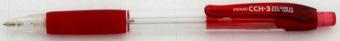 Creion mecanic PENAC CCH-3, rubber grip, 0.7mm, varf metalic, corp transparent - accesorii rosii