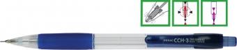 Creion mecanic PENAC CCH-3, rubber grip, 0.7mm, varf metalic, corp transparent - accesorii albastre