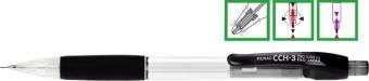 Creion mecanic PENAC CCH-3, rubber grip, 0.7mm, varf metalic, corp transparent - accesorii negre