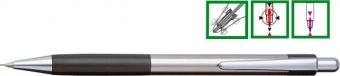 Creion mecanic metalic PENAC Pepe, rubber grip, 0.5mm, varf metalic - accesorii negre