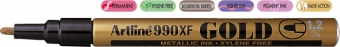 Marker cu vopsea ARTLINE 990XF, corp metalic, varf rotund 1.2mm - auriu