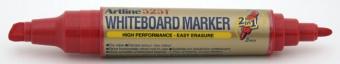 Marker pentru tabla de scris ARTLINE 525T, doua capete - varf rotund 2.0mm/tesit 5.0mm - rosu