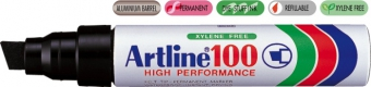 Permanent marker ARTLINE 100, corp metalic, varf tesit 7.5-12.0mm - negru