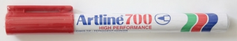 Permanent marker ARTLINE 700, corp metalic, varf rotund 0.7mm - rosu