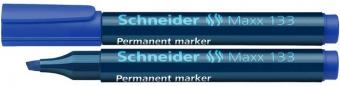 Permanent marker SCHNEIDER Maxx 133, varf tesit 1+4mm - albastru
