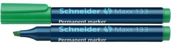 Permanent marker SCHNEIDER Maxx 133, varf tesit 1+4mm - verde