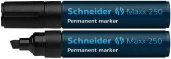 Permanent marker SCHNEIDER Maxx 250, varf tesit 2+7mm - negru