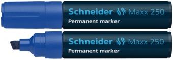 Permanent marker SCHNEIDER Maxx 250, varf tesit 2+7mm - albastru