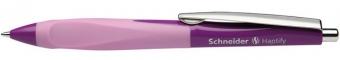 Pix SCHNEIDER Haptify, rubber grip, clema metalica, corp violet/roz - scriere albastra