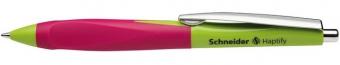 Pix SCHNEIDER Haptify, rubber grip, clema metalica, corp verde deschis/roz - scriere albastra