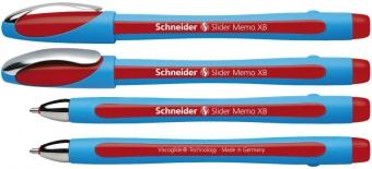 Pix SCHNEIDER Slider Memo XB, rubber grip, accesorii metalice - scriere rosie