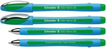 Pix SCHNEIDER Slider Memo XB, rubber grip, accesorii metalice - scriere verde