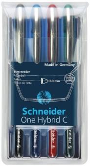 Roller cu cerneala SCHNEIDER One Hybrid C, ball point 0.3mm, 4 culori/set - (N,R,A,V)