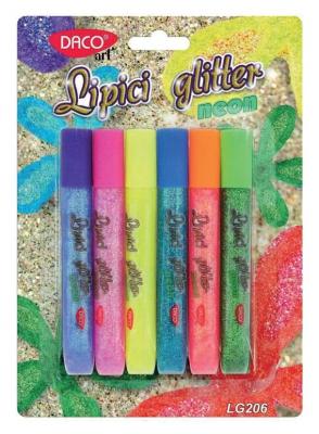 Lipici glitter neon 6/set DACO