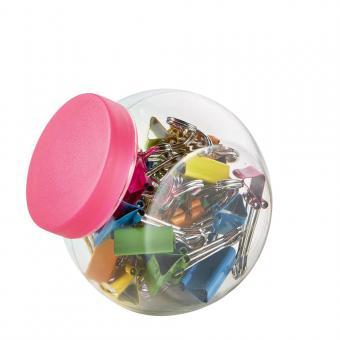 Clip hartie 19 mm, 25/borcan, ALCO - neon asortate