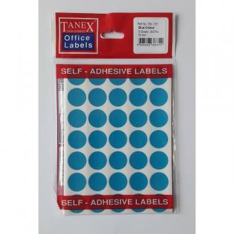 Etichete autoadezive color, D19 mm, 350 buc/set, Tanex -albastru