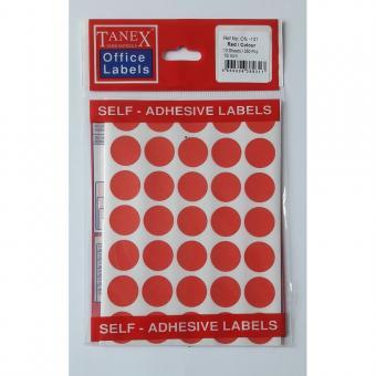 Etichete autoadezive color, D19 mm, 350 buc/set, Tanex -rosu