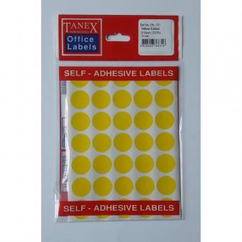 Etichete autoadezive color, D19 mm, 350 buc/set, Tanex -galben