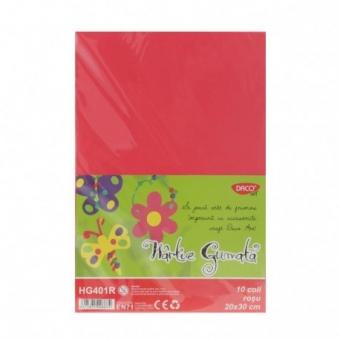 Hartie gumata 10 coli DACO rosu