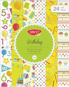 HARTIE DECORATIVA A4 24 COLI BIRTHDAY DACO