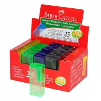 Ascutitoare plastic cu container culori fluorescente Faber Castell