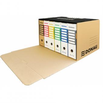 Container de arhivare cu capac deschidere frontala, carton 450gsm, DONAU - negru/kraft