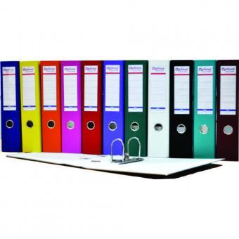 Biblioraft A4, plastifiat PP/paper, margine metalica, 75 mm, Optima Basic - diverse culori