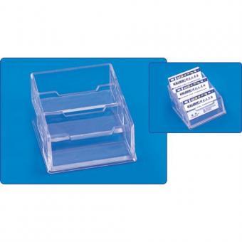 Suport plastic pentru 3 seturi carti de vizita, pentru birou, KEJEA - transparent