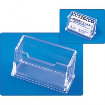 Suport plastic pentru 1 set carti de vizita, pentru birou, KEJEA - transparent