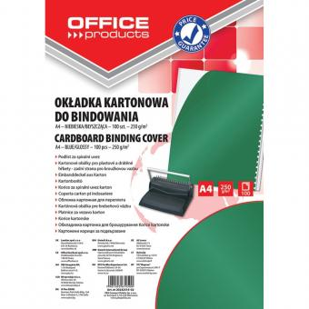 Coperta carton lucios 250g/mp, A4, 100/top, Office Products - verde