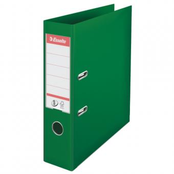 Biblioraft ESSELTE No. 1 Power, A4, plastifiat PP/PP, margine metalica, 75 mm - verde