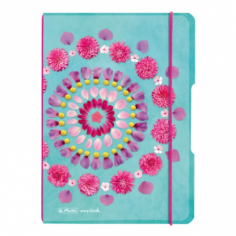 CAIET MY.BOOK FLEX A5 40F 80 GR DICTANDO COPERTA PP, FLOWERS CU ELASTIC FUCSIA