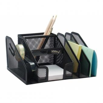Organizer metalic Mesh, de birou, 6 compartimente + suport banda adeziva, Q-Connect - negru