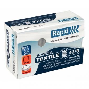 Capse RAPID 43/6G textile, 10000 buc/cutie - pentru capsator RAPID Classic K1 Textile