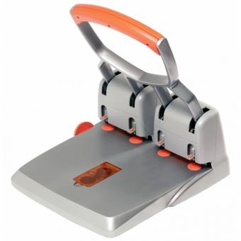 Perforator metalic, 4 perforatii, 150 coli, RAPID Supreme HDC 150/4 - argintiu/portocaliu