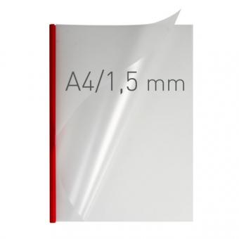 Coperti plastic PP cu sina metalica 1.5mm, OPUS Easy Open - transparent cristal/rosu
