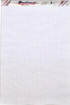 Rezerva hârtie pentru flipchart, 50coli/top, 90g/mp, (velin/caroiata - cu microperforatii) Optima