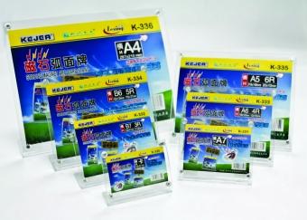 Display plastic cu magneti, pentru pliante, forma curbata, B6-landscape (178 x 127mm), KEJEA -transp